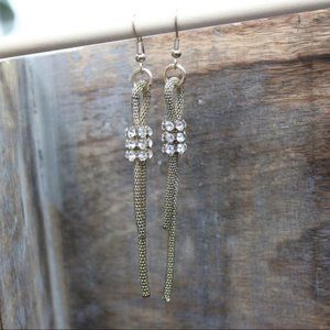 Jewelry - Chain and Rhinestone Earrings